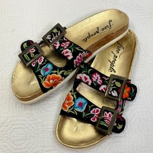 Free people Bali footbed sandals floral embroidery